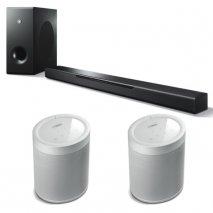 Yamaha MusicCast Bar 400 Soundbar, Sub + 2x MusicCast 20 Wireless Speakers - Wht